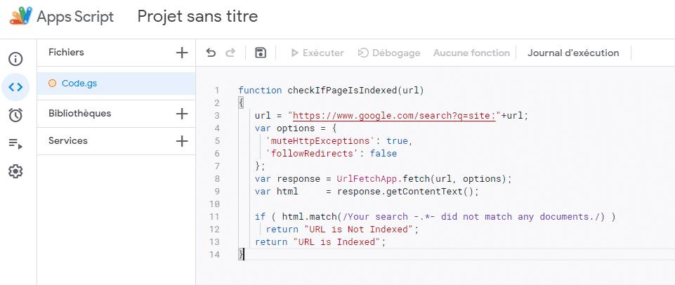 code pour Google Sheet