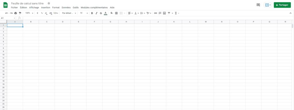 nouvelle feuille Google Sheet